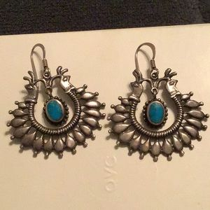 Jewelry - VINTAGE STERLING SILVER/TURQUOISE EARRINGS-UNIQUE